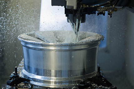 Vossen wheel being machined during the manufacturing process